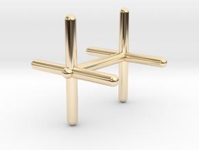 Cross Cufflink in 14k Gold Plated Brass