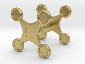 Fidget Spinner Cufflink in Natural Brass