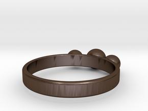 3 Eye Ring in Polished Bronze Steel