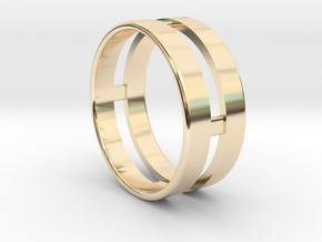 Double Ring in 14k Gold Plated Brass
