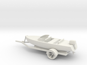 Printle Thing Boat and trailer - 1/24 in White Natural Versatile Plastic