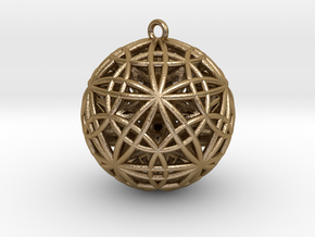 """Sphere of Sacred Union Pendant 2""""  in Polished Gold Steel"""