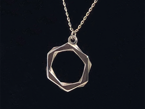 High Class Hexagon Pendant in Polished Silver