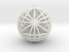 Awesomeness Sphere w/ nested Octuple Dorje Pendant in White Natural Versatile Plastic