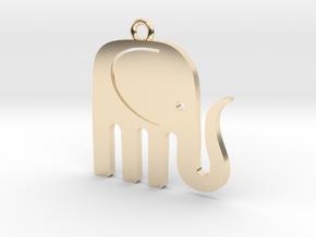 Elegant Elephant Pendant in 14K Yellow Gold