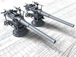 "1/96 German 8.8 cm/45 (3.46"") SK L/45 Guns x2 in Smoothest Fine Detail Plastic"