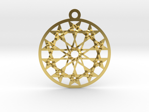 "Twelve 5 pointed Stars Pendant 1.8"" in Polished Brass"