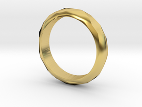 Low Poly Ring Narrow in Polished Brass: 6 / 51.5