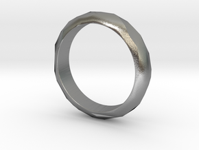 Low Poly Ring Narrow in Natural Silver: 6 / 51.5