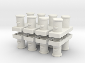 Double Bollards acc. ISO 3913 - 1:50 - 8X in White Natural Versatile Plastic
