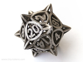 'Center Arc' dice, D20 balanced gaming die in Polished Bronzed Silver Steel