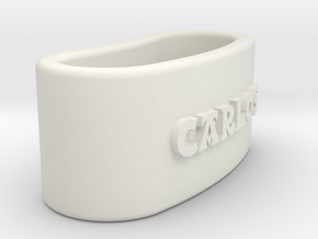 CARLOS Napkin Ring with lauburu in White Natural Versatile Plastic