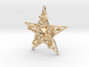 Mystical Pentagram Bone Pendant in 14K Yellow Gold