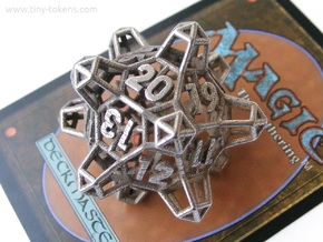 Crystal Lattice Dice, D20 - Spindown Life Counter  in Polished Bronzed-Silver Steel