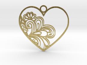Heart Flower in Natural Brass