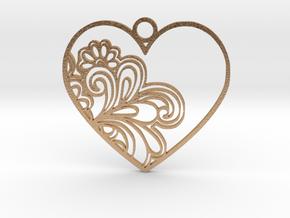 Heart Flower in Natural Bronze