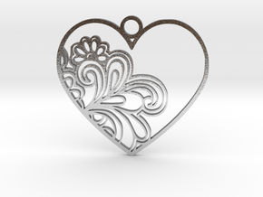 Heart Flower in Natural Silver