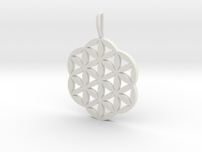 Flower of Life Necklace Pendant Charm in White Natural Versatile Plastic