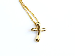 Raindrop Cross Pendant - Christian Jewelry in Polished Brass