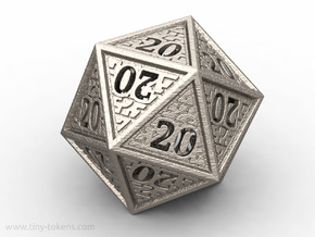 Hedron All 20's version - Novelty D20 gaming dice in Polished Bronzed Silver Steel