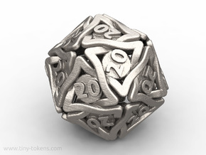 Twined All 20's version - Novelty D20 gaming dice in Polished Bronzed-Silver Steel