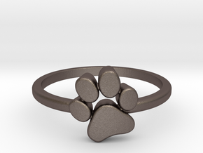 PawPrint Ring  in Polished Bronzed-Silver Steel