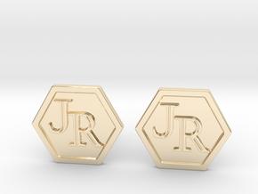Monogram Cufflinks JR in 14k Gold Plated Brass