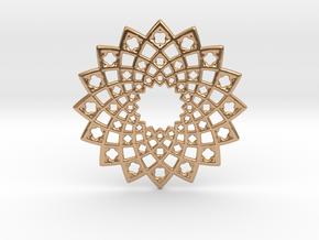 Sunny Fractal Flower Medallion in Polished Bronze