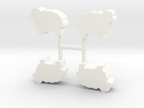 Sheep Meeple, 4-set in White Processed Versatile Plastic