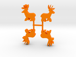 Deer Buck Meeple, running, 4-set in Orange Processed Versatile Plastic