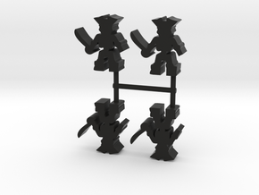 Pirate Skeleton Meeple, 4-set in Black Natural Versatile Plastic