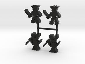 Pirate Skeleton Meeple, 4-set in Black Natural Versatile Plastic
