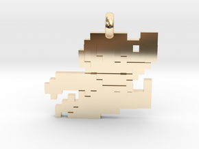 Mario bros 8 bit Pendant necklace all materials in 14k Gold Plated Brass