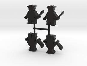 Pirate Meeple, hook, 4-set in Black Natural Versatile Plastic