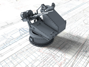 1/72 Twin 20mm Oerlikon Powered MKV Mount 25º in Smooth Fine Detail Plastic