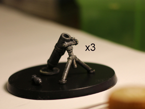 28mm Mortars (3) in Smooth Fine Detail Plastic