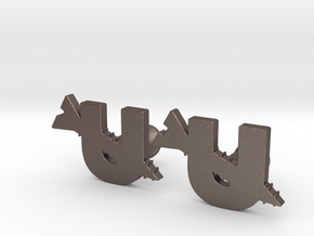 Screw U Cufflinks in Polished Bronzed-Silver Steel