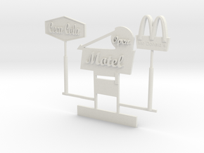 O Scale Signs in White Natural Versatile Plastic