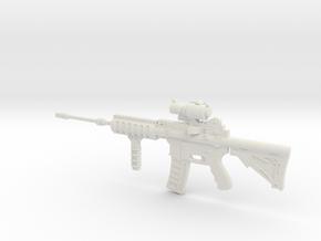1:6 Miniature Ares Shrike 5.56 Assault Rifle in White Natural Versatile Plastic