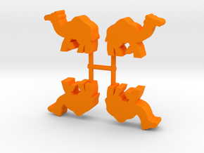 Camel Meeple, running, 4-set in Orange Processed Versatile Plastic