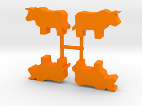 Bull Meeple, standing, 4-set in Orange Processed Versatile Plastic