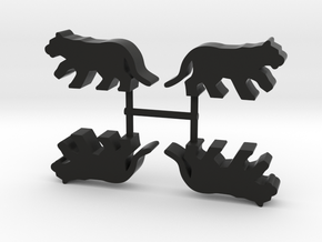 Big Cat Meeple, running, 4-set in Black Natural Versatile Plastic