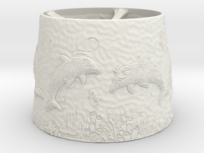 Dolphin Lampshade in White Natural Versatile Plastic