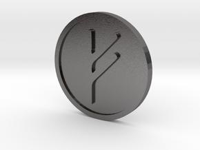 Fehu Coin (Elder Futhark) in Polished Nickel Steel