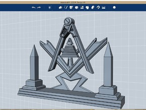 Masonic Display Piece Large in Polished Bronzed Silver Steel