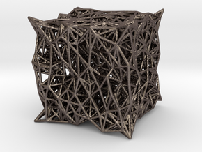 cube_c in Polished Bronzed-Silver Steel