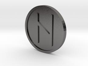 Haglaz Coin (Elder Futhark) in Polished Nickel Steel