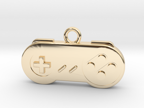 Super Nintendo Controller Pendant all materials ga in 14K Yellow Gold