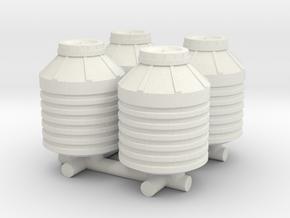 1-87 Scale Water Storage Tanks in White Natural Versatile Plastic