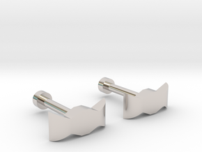 bow tie cufflinks in Rhodium Plated Brass